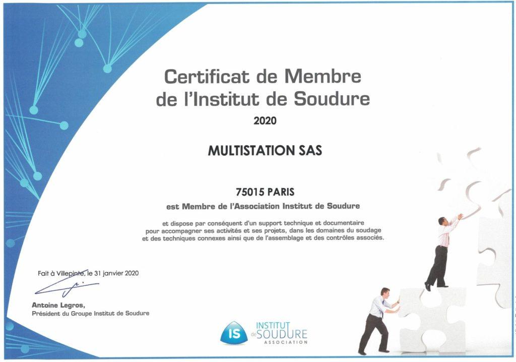 Membre Institut de soudure 2020