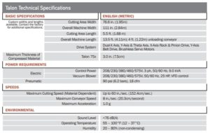Talon 75x Technical Specifications